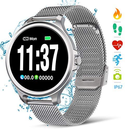 NASUM Smartwatch Fitness Armbanduhr, Herzfrequenz- und Schlafüberwachung, Schrittzähler, Kalorienberechnung, IP67 wasserdicht, Schlafüberwachung, SMS Empfang, für Android und iOS Silber