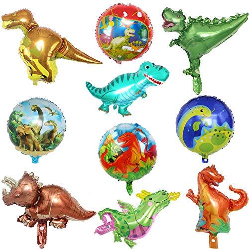 WENTS Dino Luftballons, 10 Stücke Folien Ballon Dinosaurier, Helium Luftballon, Balloon Bouquet Dekoration, Folienballon Geburtstagsfeier für Kinder Geschenk Jurassic Welt Dinosaurier Luftballons