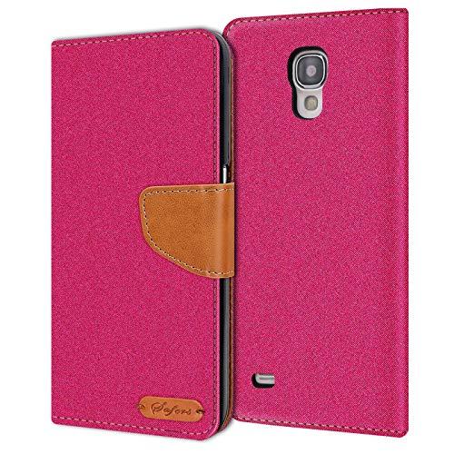 Conie Samsung Galaxy S4 Mini Hülle für Galaxy S4 Mini Tasche, Textil Denim Jeans Look Booklet Cover Handytasche Klapphülle Etui mit Kartenfächer, Pink