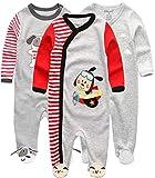 Kiddiezoom Baby-Jungen Mädchen Schlafstrampler, 3er Pack