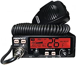 President Electronics RONALD AM/FM/PA Ham Transceiver 10 and 12 Meter Amateur Mobile Radio with Rotary Channel Selector, RF Power, Manual Squelch, ASC, LCD Display, Digital S-meter
