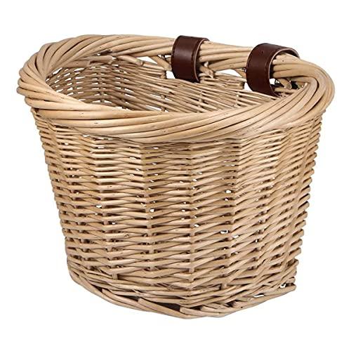 Miouldram - Cestino per bicicletta, vintage, intrecciato, realizzato a mano, con cinturino in pelle marrone chiaro, manubrio anteriore, in rattan, per bambini, ragazzi e ragazze (25cm)