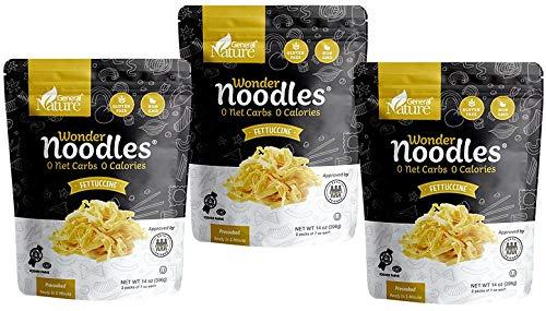 Zero Calorie Wonder Noodles - 3 Pack | Fettuccine | Kosher, Vegan-Friendly, Carb-Free Noodles | No Sugar, No Fat | Ready to Eat Gluten Free Pasta Diet Food | (42oz)
