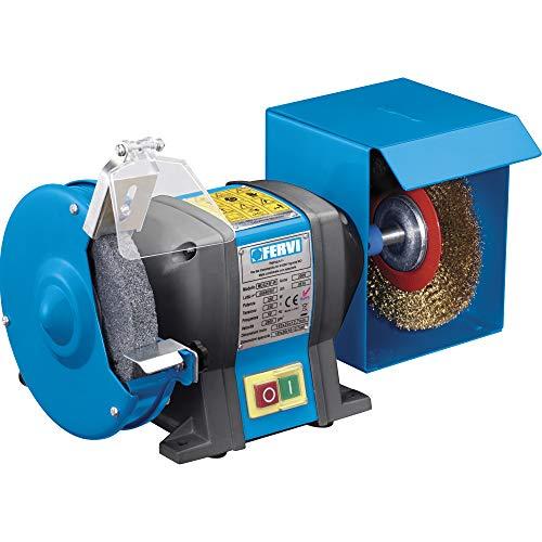 Fervi 0510 - Amoladora de banco profesional, diámetro de 150 mm, con cepillo de 350 W