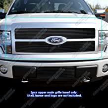 APS Compatible with 2009-2011 Ford F-150 Platinum Black Billet Grille Grill Insert F86884H