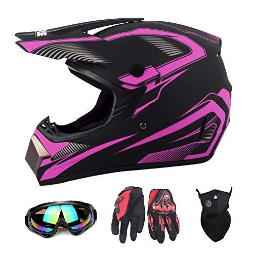 San Qing Motocross Helmet Adult (4 Pack) Unisex Motorcycle Off-Road Helmet ATV Protective Helmet Accessories Goggles, Face Shield, Riding Gloves,L