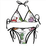 Mujeres Acuario Dibujos Animados Pulpo Delfín Tiburón Ballena Payaso Pez Medusa Cangrejo ermitaño Dos Piezas Bikini Set Traje de baño Halter Acolchado Push-up