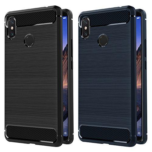 ivoler [2 Stücke] Hülle Kompatibel für Xiaomi Mi Max 3, Carbon Faser Hülle Tasche Schutzhülle mit Stoßdämpfung Soft Flex TPU Silikon Handyhülle - (Schwarz+Blau)