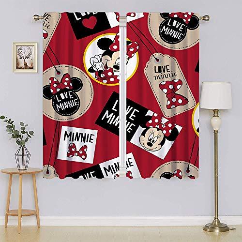lacencn Mickey-Mouse - Cortinas de ventana para dormitorio, con ojales en la parte superior de bajo consumo para sala de estar, 55 x 72 cm