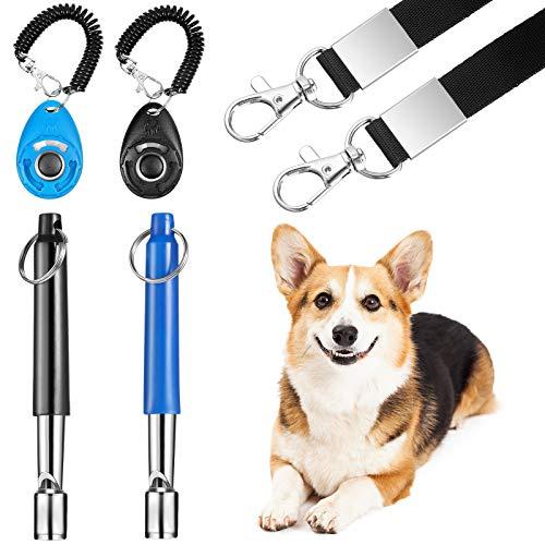 2 Juegos Conjunto de Entrenar Perro Silbato de Perro para Dejar de Ladrar con Cuerda Clicker para Entrenar Perro con Correa de Muñeca Silbato de Control de Ladrido de Perro Silencioso para Perros