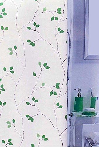 Leifheit Duschvorhang Marielle Green Grün Metallic Effect Textil Polyester, 180 x 200 cm.