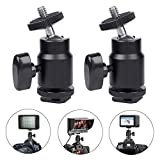 Hot Shoe Mount Adapter 1/4' Thread Mini Ball Head Ring Light Adapter for Cameras Camcorders Smartphone Microphone Gopro Canon LED Video Light Video Monitor Tripod Monopod (2 Pcs)