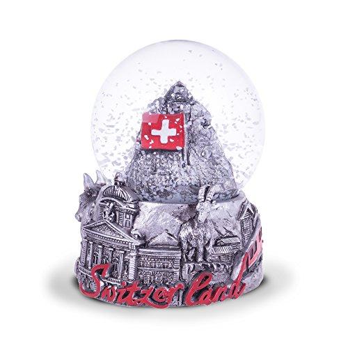 TopSpirit® Schneekugel 3D Switzerland Black & White - mit Matternhorn/Zermatt - Schweizer Fahne und mit Schweizer Sujets 8.5 cm