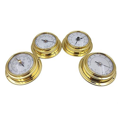 szdealhola 4pcs 10cm Dial latón caso aneroide barómetro higrómetro termómetro reloj
