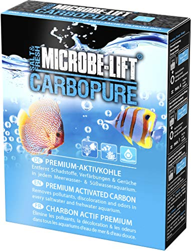 MICROBE-LIFT Carbopure – Aktivkohle Filtermedium, hilft bei gelbem Wasser, Medikamenten, Giftstoffe im Aquarium, 500ml / 243g