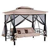 Outsunny 3 Person Outdoor Patio Daybed Gazebo Swing with Canopy and Mesh Walls