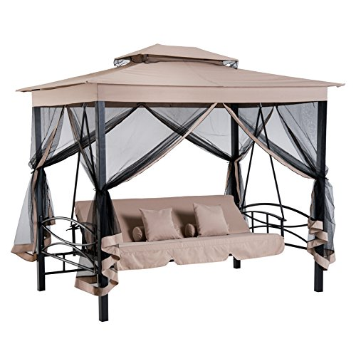 Outsunny 3 Person Outdoor Patio Swing Chair Bench Daybed Gazebo with Double Tier Canopy, Cushioned Seat, Mesh Sidewalls, Beige
