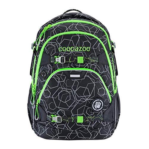 """coocazoo Schulrucksack ScaleRale """"Laserreflect Solar-Green"""" schwarz-grün, ergonomischer Tornister, höhenverstellbar mit Brustgurt und Hüftgurt für Jungen ab der 5. Klasse, 30 Liter"""