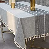 Deep Dream Tablecloth, Embroidered Table Cloth Cotton Linen Wrinkle Free Anti-Fading Tablecloths Washable Dust-Proof Table Cover for Kitchen Dinning Party Christmas, 55 x 102 Inch - New Gray