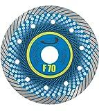 PRODIAMANT Disco de corte de diamante profesional para gres porcelánico F70 extrafino 125 mm x 22,2 mm, para corte en seco hasta placas de terraza de 3 cm