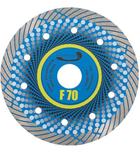 PRODIAMANT Profi Premium Diamant-Trennscheibe Feinsteinzeug F70 extra dünn 125 mm x 22,2 mm Diamanttrennscheibe für Trockenschnitt bis zu 3cm Terassenplatten