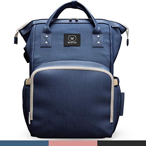 Premium Wickeltasche von BEARTOP mit Wickelunterlage und 2 Kinderwagenhaken