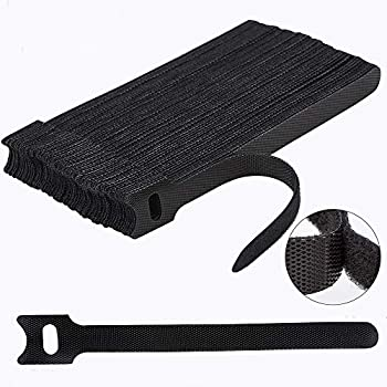 60PCS 6 Inches Reusable Cable Ties Newlan Adjustable Cord Straps Cable Organizer Cord Wrap and Hook Loop Cords Management - Black