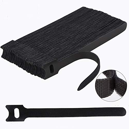 60PCS 6 Inches Reusable Cable Ties, Newlan Adjustable Cord Straps, Cable Organizer, Cord Wrap and Hook Loop Cords Management - Black