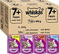 Whiskas Senior Cat Pouches in jelly, a delicious all around meal designed for adult cats in their later years, succulent, moist ingredients in every pouch Carefully designed meals for cats, juicy chunks of food and tasty jelly combine with mouth wate...