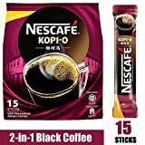 Nescafe 2 in 1 Kopi O - Black Coffee Instant Coffee - Strong Dark Roast Coffee Sticks - Single Serving (15 Sticks)