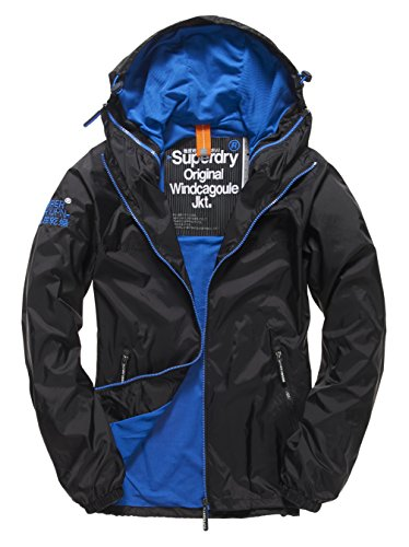 Superdry Herren DUAL Zip Through Cagoule Regenjacke, schwarz (Black/Royal56A), M