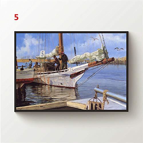 JackGo7 Landschaftszeichnung, Leinwand, Wandkunst, Gemälde, Poster, Kunstdruck, Heimdekoration, ungerahmt (50 x 75 cm)