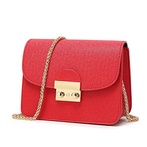 CHIKENCALL Damentasche Kleine Damen Umhängetasche Citytasche Schultertasche Handtasche Elegant Retro Vintage Tasche Kette Band - Rot