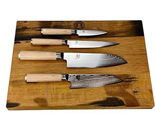 Kai Shun Classic White Bundle | 4 cuchillos japoneses ultra afilados + tabla de madera de barril hecha a mano 40 x 30 cm | VK: 739,- €