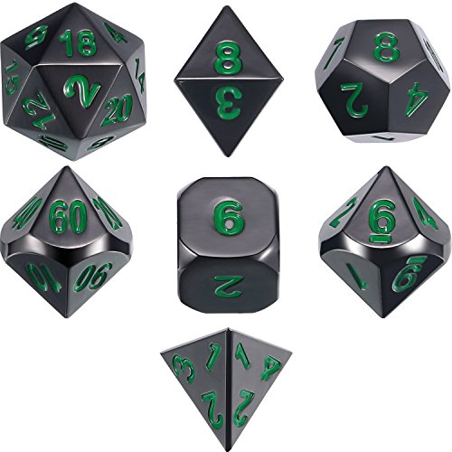 Frienda Zinc Alloy Metal Polyhedral 7-Die Dice Set for Dungeons and Dragons RPG Dice Gaming D&D Math Teaching, d20, d12, 2 Pieces d10 (00-90 and 0-9), d8, d6 and d4 (Black and Green)