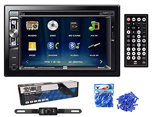 """Dual Electronics XDVD276BT 6.2"""" LCD Touch Screen Double Din Car Stereo with Absolute USA HD Camera + American Terminal Vinyl Butt Connectors"""