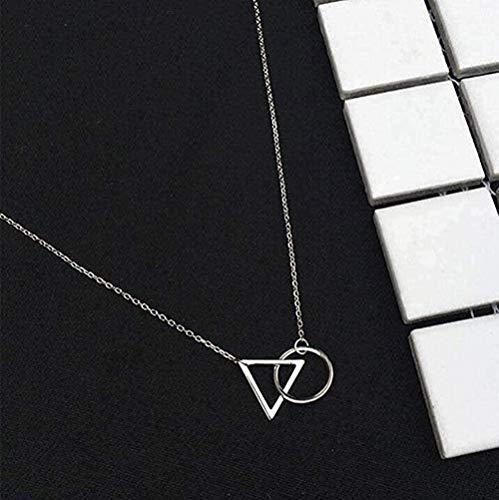 zhuangpuxu Collar Collar Minimalista Clavícula Cadena Triángulo Femenino Colgante Redondo