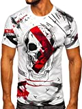 BOLF Hombre Camiseta de Manga Corta T-Shirt Escote Redondo Estampada Crew Neck Básico Entrenamiento Deporte Print Ocio Outdoor Logo Regular Estilo Diario 14847-1 Blanco XXL [3C3]