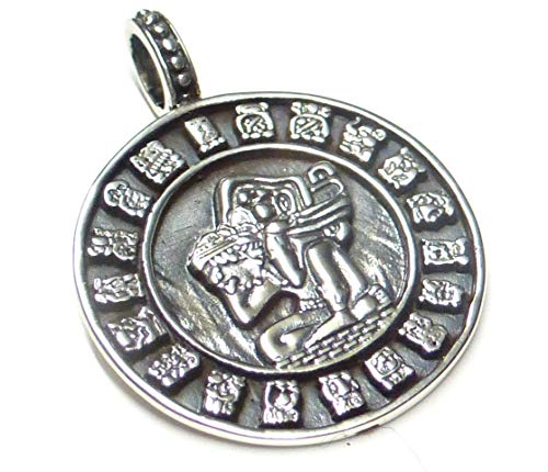 Colgante de plata de ley 925 con símbolo de Maya