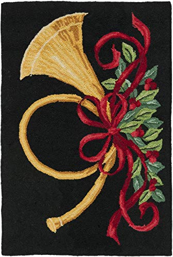 Safavieh Vintage Poster Collection VP321A Hand-Hooked Christmas Horn Novelty Premium Wool Accent Rug, 2'6' x 4', Black / Multi