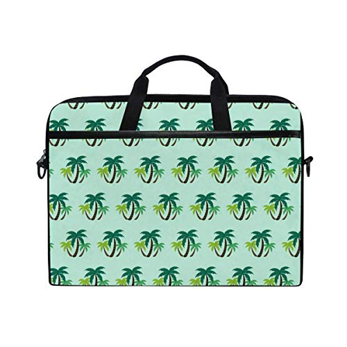 Laptop Sleeve Case,Laptop Bag,Tropical Plant Green Leaves Pattern Water Briefcase Messenger Notebook Computer Bag with Shoulder Strap Handle,28.5×38 CM/14 Inch
