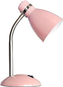 Rosa Schreibtischleuchte 1 Flammig flexibler Arm Schalter aus Metall (Schreibtischlampe, Nachttischleuchte, Nachttischlampe, Tischleuchte, Tischlampe, Höhe 35 cm, Fassung E27)
