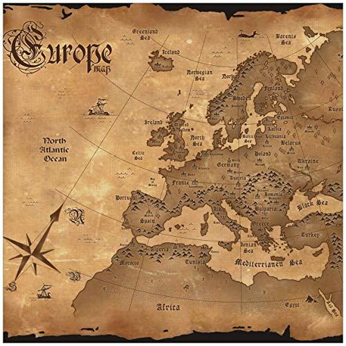 Wallario Möbeldesign/Aufkleber, geeignet für IKEA Lack Tisch - Alte Weltkarte Karte von Europa in englisch in 55 x 55 cm