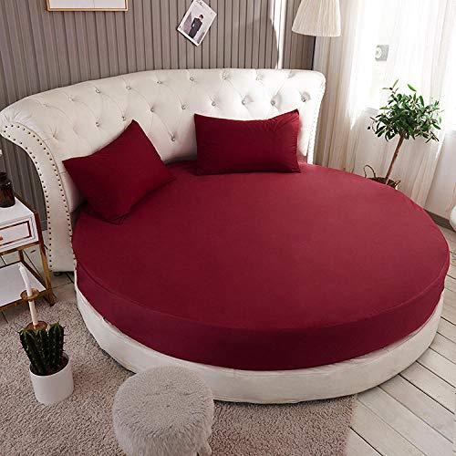 HPPSLT Protector de colchón, con Aloe Vera, (Todas Las Medidas) Cama Redonda de algodón para Hotel-Rojo Vino_2.0m