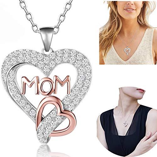WENTING Collar con colgante de corazón de mamá (con caja de regalo) – la mejor idea de regalo de Navidad para mamá, collar para mamá, regalo de cumpleaños