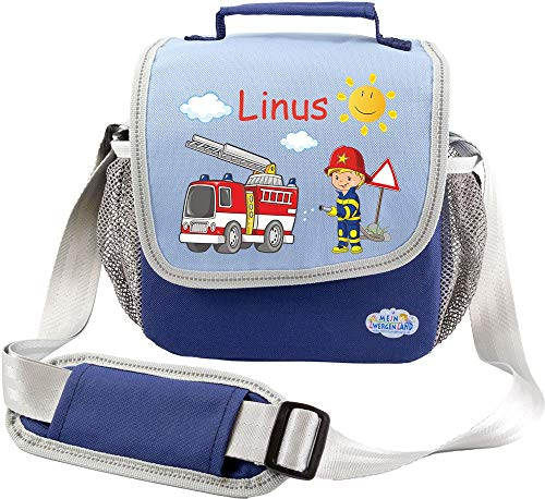 Mein Zwergenland Kindergartentasche Happy Knirps mit Name, 4 L, blau, Feuerwehr