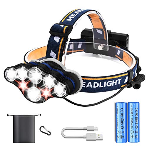 Headlamp USB Rechargeable Led Head Torch High Power 8 LED 18000 Lumen 8 Modes Head Flashlight IPX4 Waterproof Headlight Kit Adjustable Headband 90° Rotation for Indoor and Outdoor(Batteries Included)