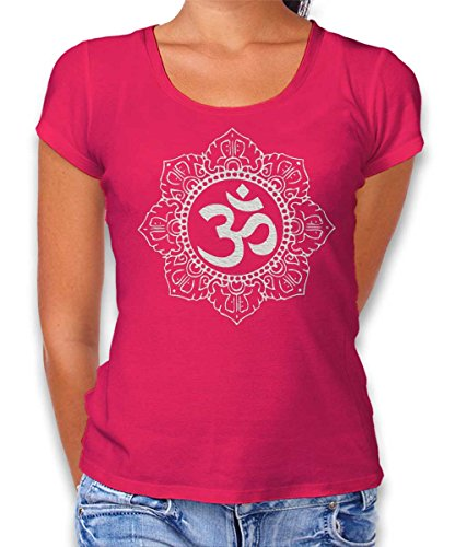 Om Symbol White Damen T-Shirt Fuchsia S