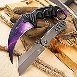 Wartech Buckshot Knives 2PC Combo Set 7.5' Galaxy CS GO KARAMBIT Knife + 6.5' Camping Hunting Assisted Open Cleaver Pocket Folding Knife