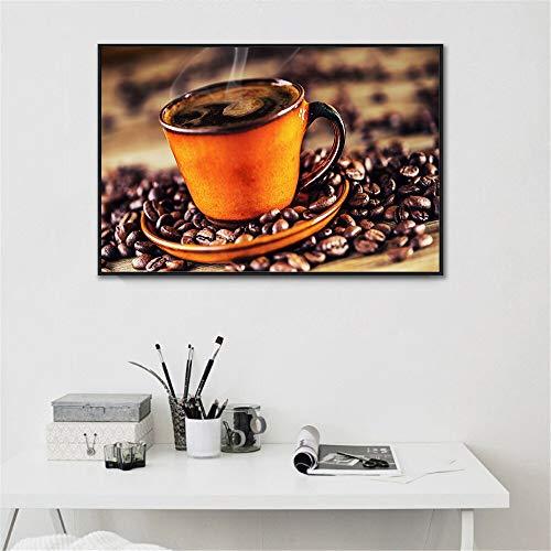 Wenqike Póster de Bebidas, Arte de Pared de Grano de café, decoración de Cocina, Cuadros de Pared para decoración de Sala de Estar nórdica, impresión Moderna 30x40cm